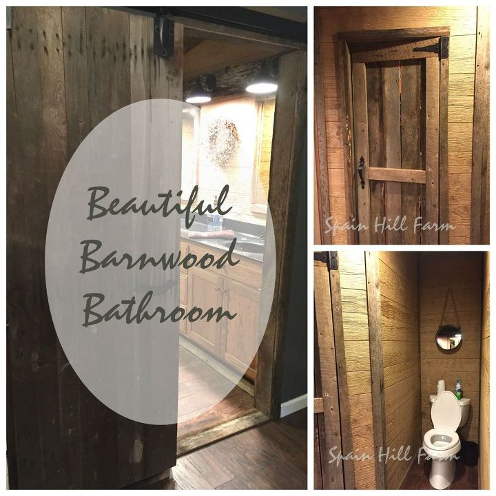 beautiful barn wood bathroom makeover, bathroom ideas, flooring, repurposing upcycling, tiling, wall decor