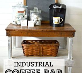 industrial work bench turned coffee bar how to outdoor furniture outdoor living