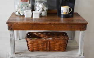 industrial work bench turned coffee bar, how to, outdoor furniture, outdoor living, painted furniture, repurposing upcycling