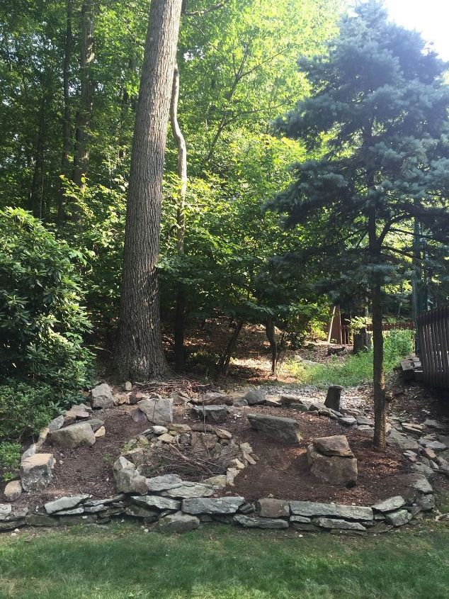 q fire pit landscaping, landscape, outdoor living, backyard fire pit need something behind it not a lot of sun