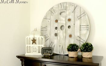 electrical spool turned clock face, chalk paint, how to, painting, pallet, repurposing upcycling