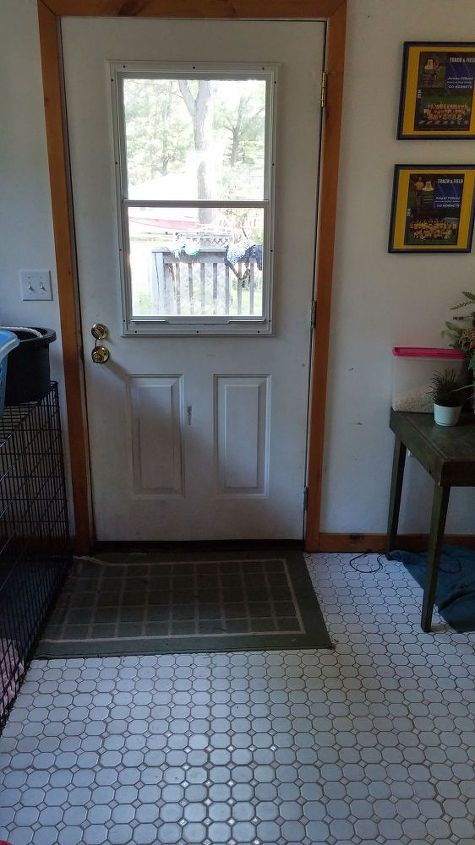 q suggestions for entryway paint colors, foyer, paint colors, painting, Current entryway door waiting for paint also shows white tile and grout