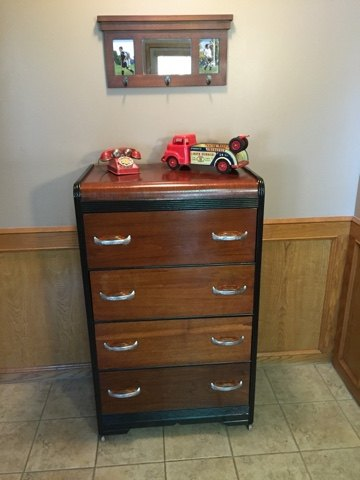 waterfall dresser upcycle, painted furniture, repurposing upcycling