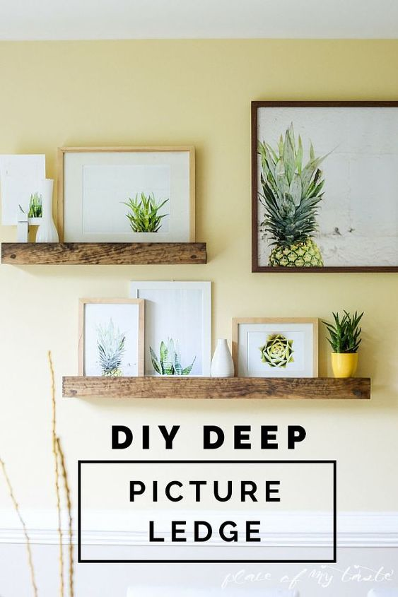 diy deep picture ledge inspired by west elm, shelving ideas, wall decor, woodworking projects