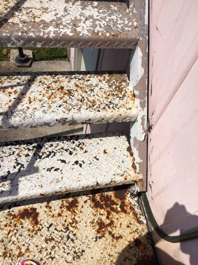 q how to remove rust off an iron stairwell, cleaning tips, It s rusted and also has old paint and primer on it