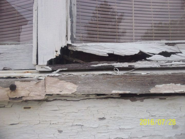 This is basically every window sill on the outside of the house. There was wood there at one point, but no longer.