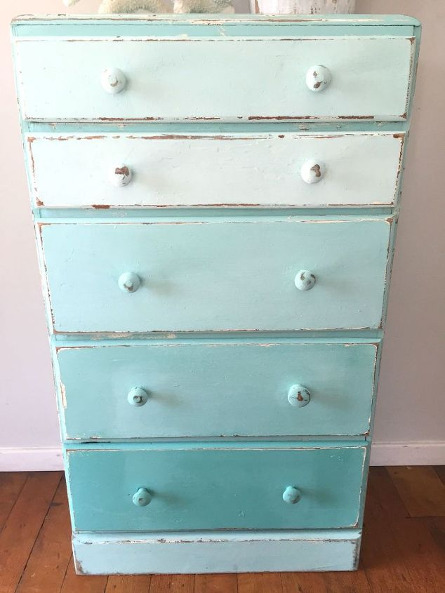 aqua ombre chest of drawers upcycle, painted furniture, repurposing  upcycling
