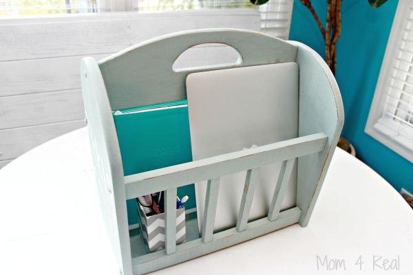 magazine rack turned portable office, organizing, repurposing upcycling