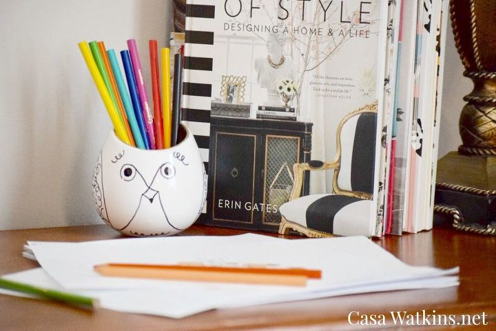 diy kate spade inspired pencil holder from repurposed planter, crafts, how to, organizing, repurposing upcycling