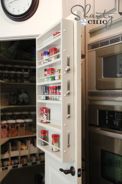 Photo via Whitney & Ashley @[url=http://www.shanty-2-chic.com/2012/10/pantry-ideas-door-spice-rack.html]Shanty 2 Chic[/url]