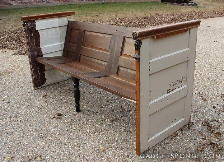 Repurposed Vintage Door Church Pew Bench Hometalk