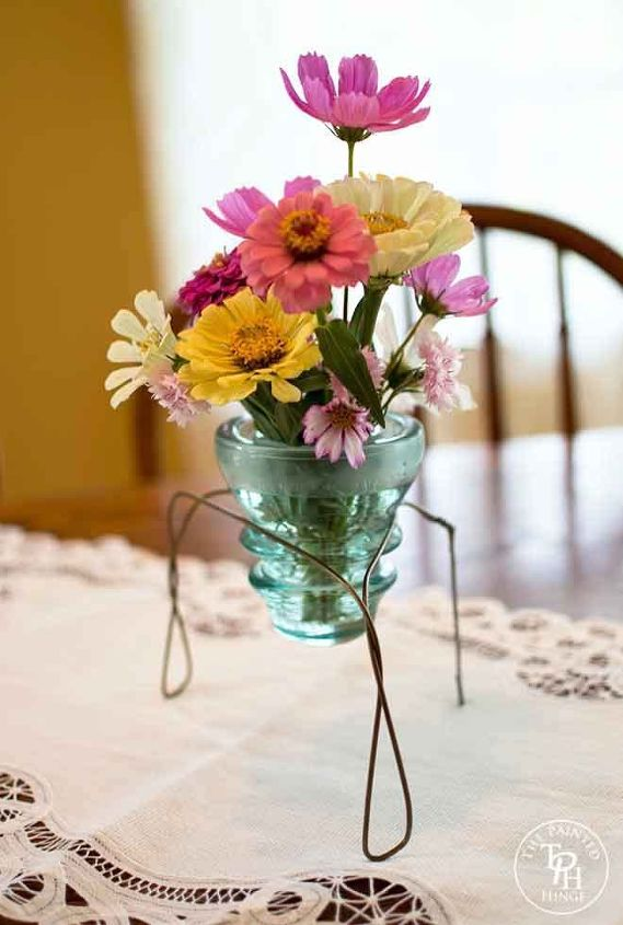 glass electrical insulator vase stand tutorial, crafts, how to, repurposing upcycling