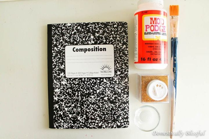 diy glitter composition notebook, crafts, decoupage, how to