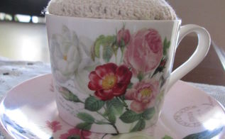 coffee cup turned pin cushion for sewing craft room, crafts, how to, repurposing upcycling, shabby chic