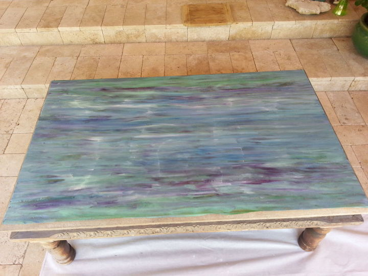 from weathered to coastal patio table, outdoor furniture, painted furniture, repurposing upcycling