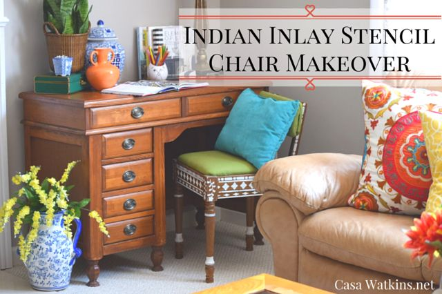 Thrift Store Chair Makeover with indian inlay Stencils | Hometalk