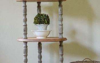 industrial farmhouse inspired three shelf table, painted furniture