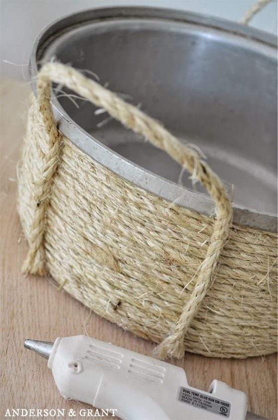 how to create a unique basket from an old sauce pot, crafts, how to, repurposing upcycling