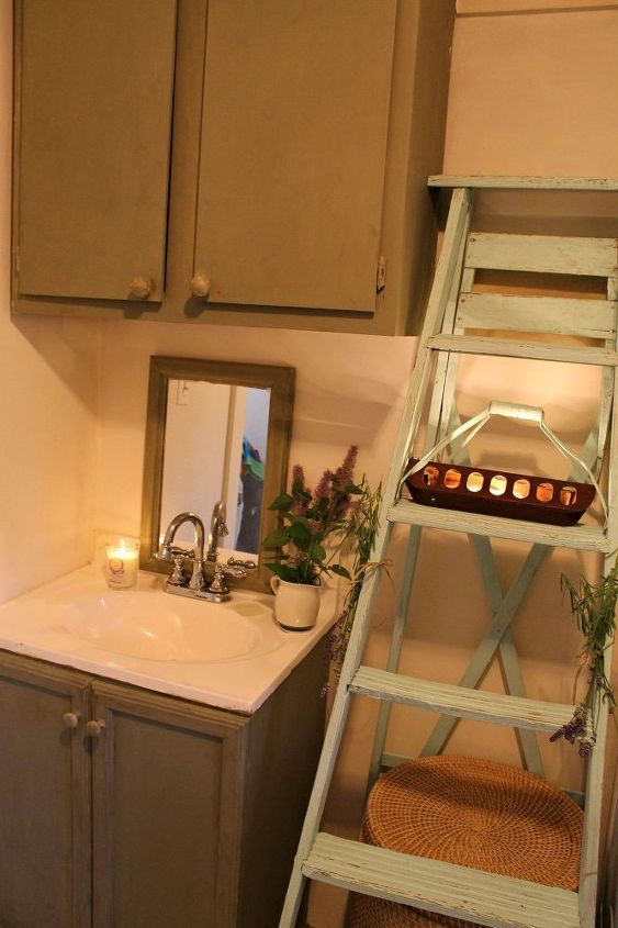 small bathroom cabinet floor makeover, bathroom ideas, chalk paint, flooring, painting, repurposing upcycling, small bathroom ideas