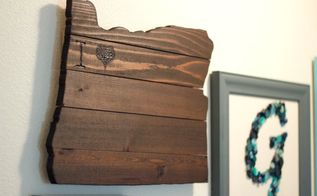 rustic state map love wall decor, how to, wall decor, woodworking projects