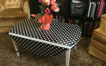 Amazing $5 Table ReVamp Using Wrapping Paper and Mod Podge