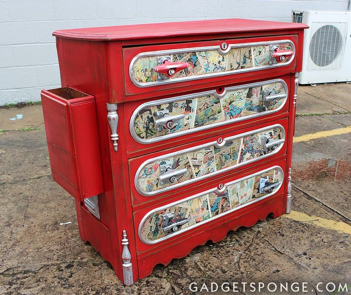 Decoupaged Red Chest of Drawers with Comics and Skateboard Trucks ...