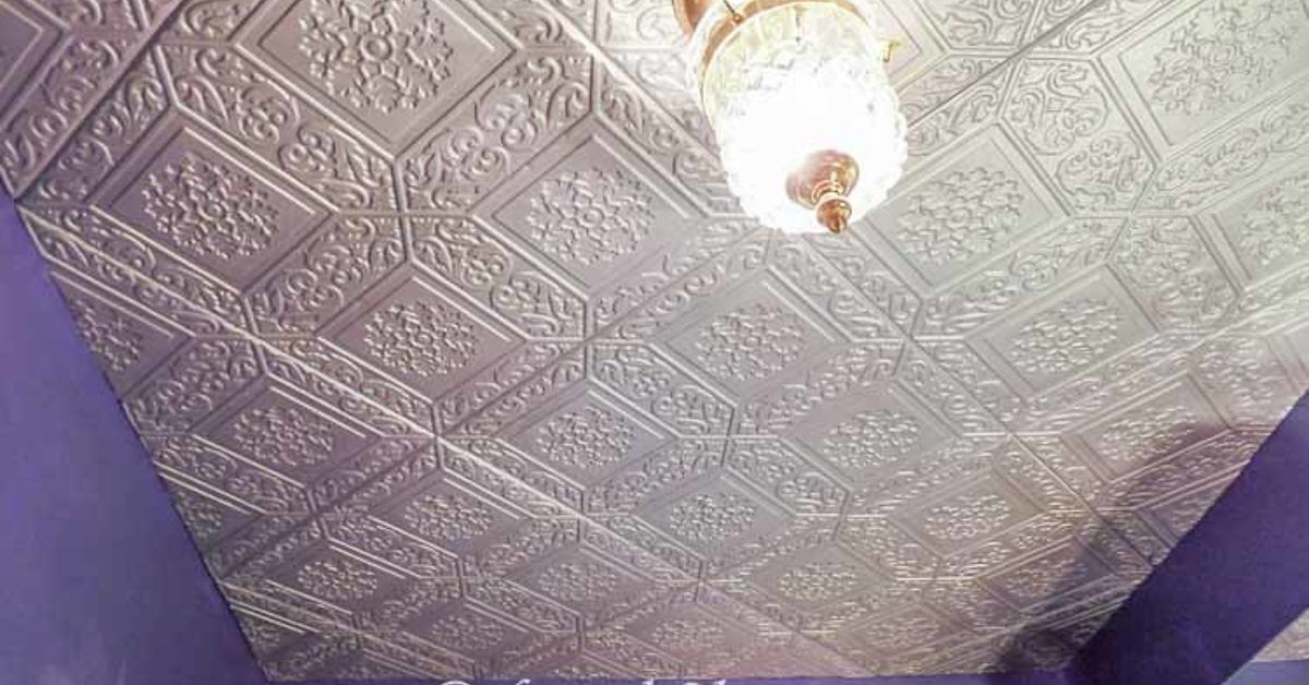 How To Cover A Popcorn Ceiling By Installing Faux Tin Hometalk