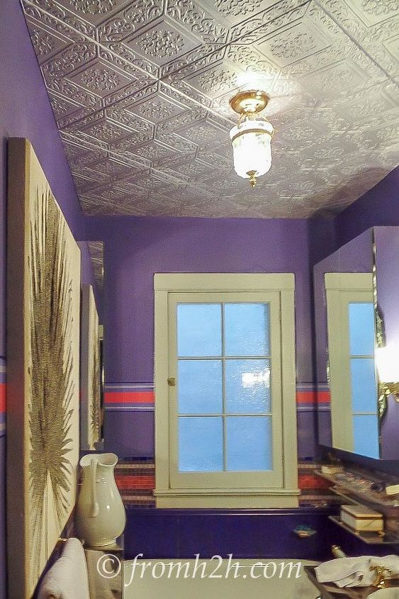 How To Cover A Popcorn Ceiling By Installing Faux Tin Wall Decor
