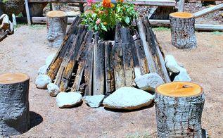 fire pit garden feature, container gardening, flowers, gardening, outdoor living