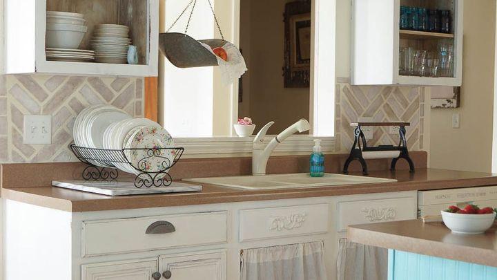 diy herringbone brick stenciled kitchen backsplash, how to, kitchen backsplash, kitchen design, painting