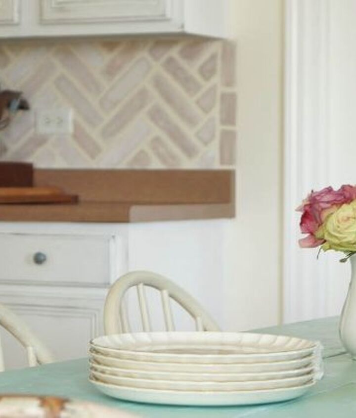 diy herringbone brick stenciled kitchen backsplash, how to, kitchen backsplash, kitchen design, painting