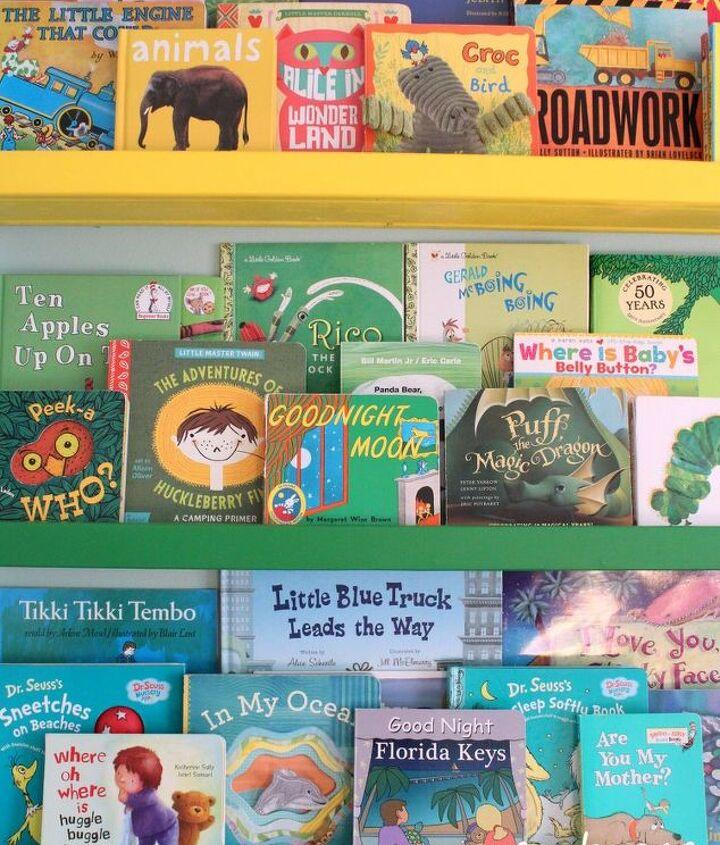 diy rainbow book ledges for children s books, organizing, shelving ideas, wall decor