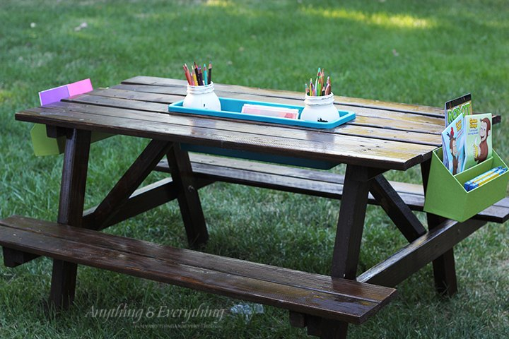 Diy kids activity picnic table hometalk for Kids outdoor furniture