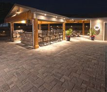outdoor living room, concrete masonry, outdoor furniture, outdoor living