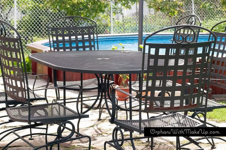 painted outdoor patio set, outdoor furniture, painted furniture