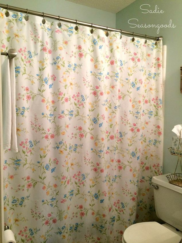 vintage bed sheet diy shower curtain, bathroom ideas, crafts, how to, repurposing upcycling, reupholster