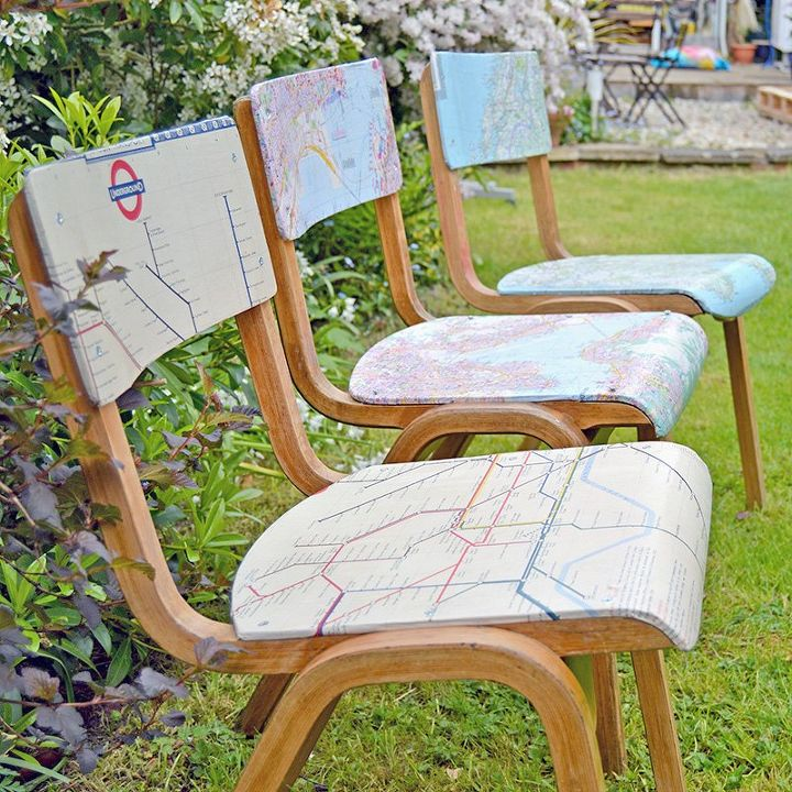 diy personalized map chairs, crafts, decoupage, how to, painted furniture