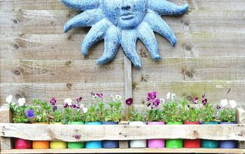 Easy to Make Colorful Planters in a Wooden Trough