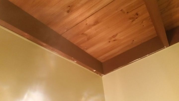 q how to update dark ceiling beams on raked ceiling, painting, wall decor, My bathroom showing paint messes