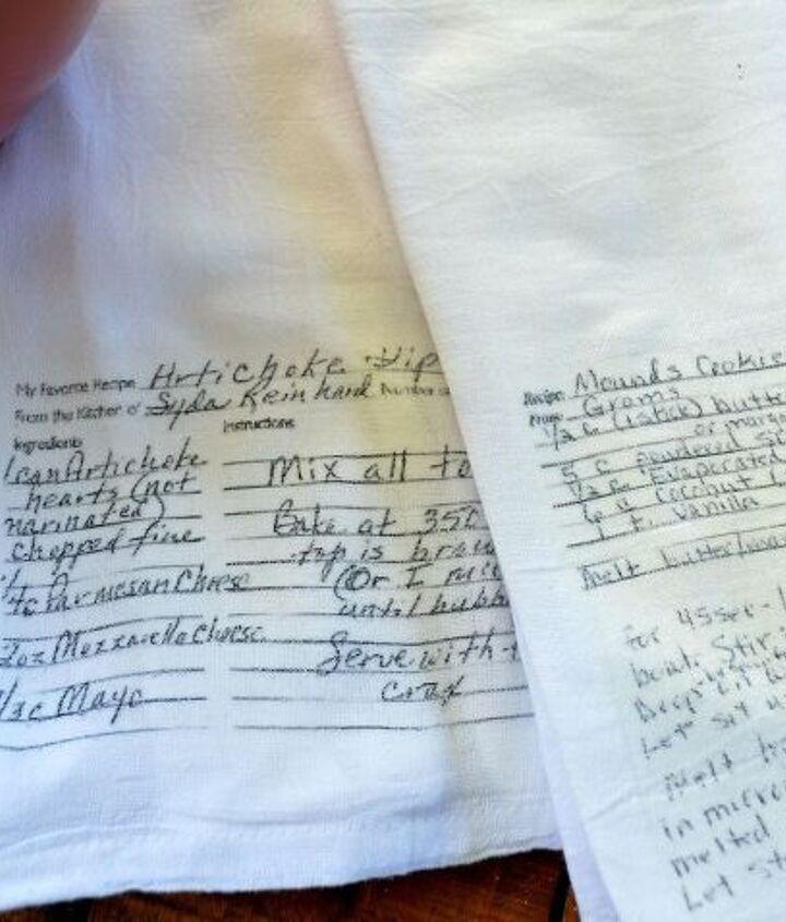 diy handwritten recipe towels, crafts, how to