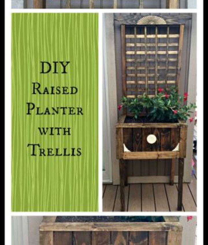 diy raised planter with trellis, container gardening, flowers, gardening