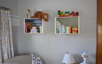 diy nursery bookshelves from wooden crates, bedroom ideas, repurposing upcycling, shelving ideas, storage ideas