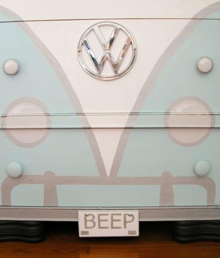volkswagen bus painted dresser, paint colors, painted furniture