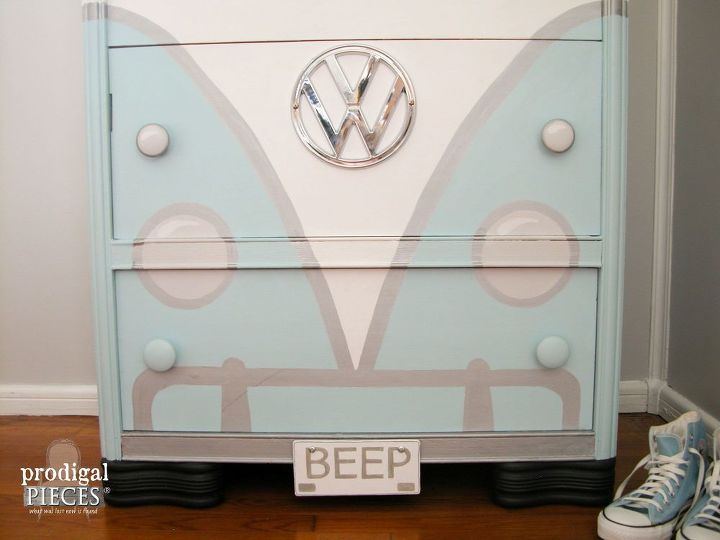 volkswagen bus painted dresser, paint colors, painted furniture