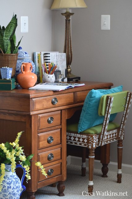 a diy bone inlay chair makeover and stencil giveaway, painted furniture