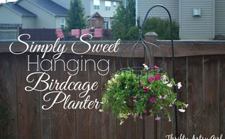 diy simply sweet hanging up cycled birdcage planter, container gardening, gardening, repurposing upcycling