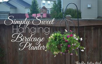 DIY Simply Sweet Hanging Up-Cycled Birdcage Planter