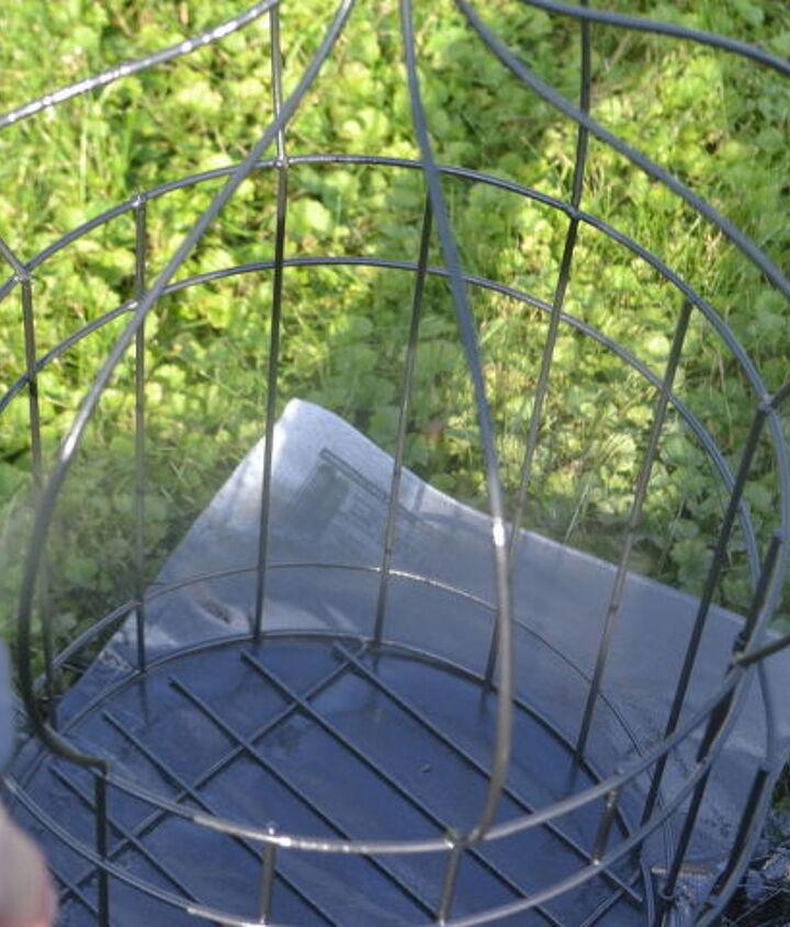 diy simply sweet hanging up cycled birdcage planter, container gardening, gardening, repurposing upcycling