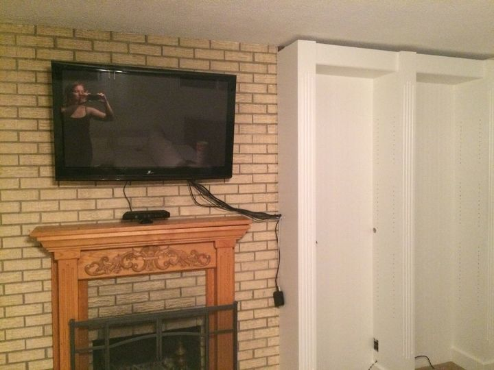 q painting brick on fireplace and mantle, concrete masonry, fireplaces mantels, painting