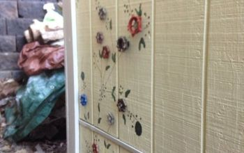 flower art on shed wall with repurposed faucets, crafts, gardening, how to, outdoor living, repurposing upcycling, wall decor